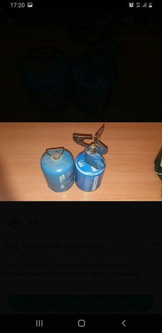 camping gas y dos bombonas
