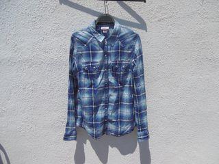 Camisa Vintage de cuadros color azul