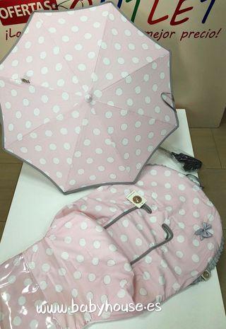 Colchoneta + sombrilla Bugaboo rosa topos NUEVO