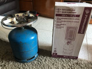 Estufa camping gas + bombona azul + para dreir