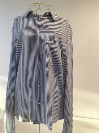 camisa rallas azules manga larga