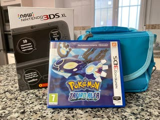 Nintendo 3DS XL + Pokemon zafiro alfa + funda