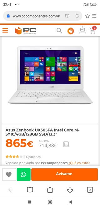 Portátil Asus Zenbook SSD 128GB