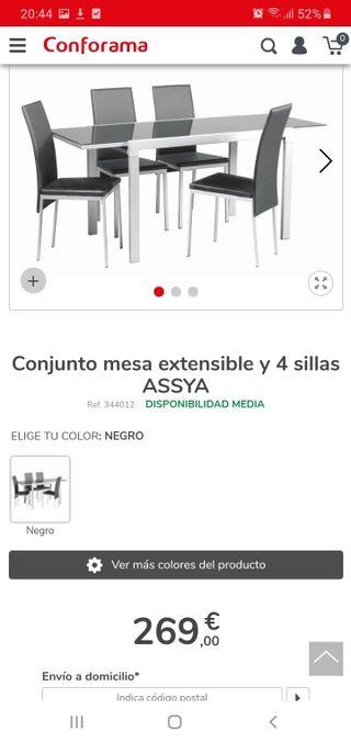 mesa + 4 sillas conforama