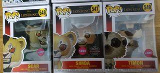 Funko Pop Flocked Simba / Timón / Scar Rey León