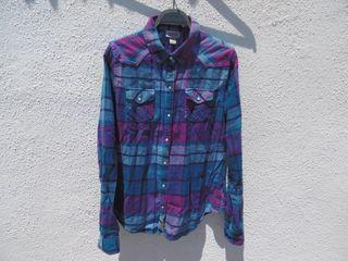 Camisa Vintage de cuadros color azul y rosa