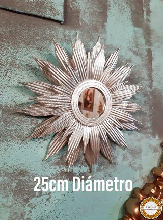 Espejo Sol 25cm Diámetro Plata Cromo