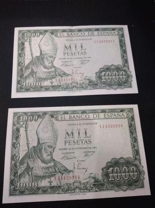 billetes 1000 pesetas 1965 pareja correlativa