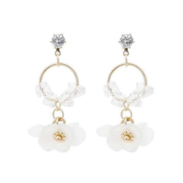S925 Drop earring with diamente and floral shaped