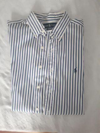 Camisa RALPH LAUREN blanca, con rayas azules