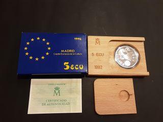 Estuche Moneda 5 Ecus Plata 1992 España Madrid