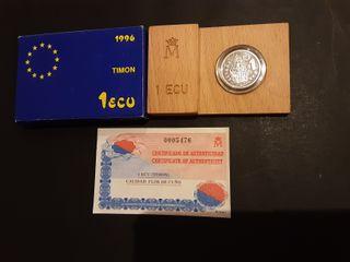 Estuche Moneda 1 Ecu Plata 1996 España