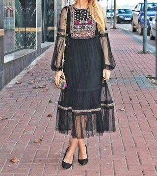 Vestido boho Zara bordado.