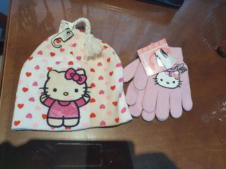 Gorro y Guantes Nuevos Hello Kitty