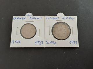 lote 2 Monedas 1 peseta,2 Pesetas 1937
