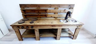 Cocina infantil madera exterior autoclave palet