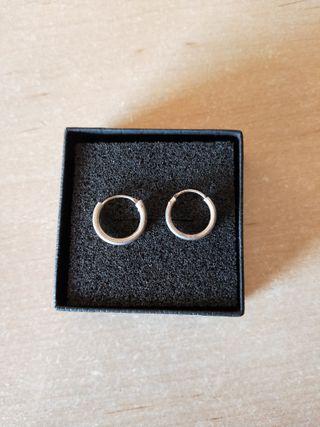 pendientes de plata de aros pequeños nuevos