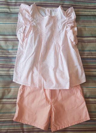conjunto short y blusa talla 7-8años.