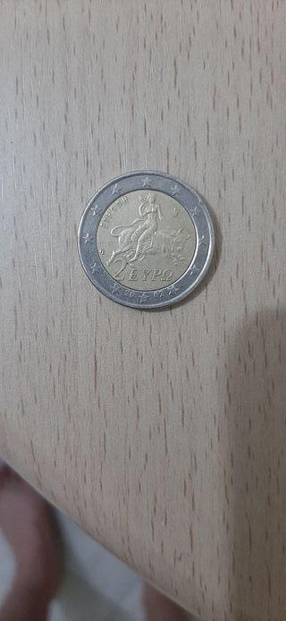 moneda griega de 2 euro 2002 con s en la estrella