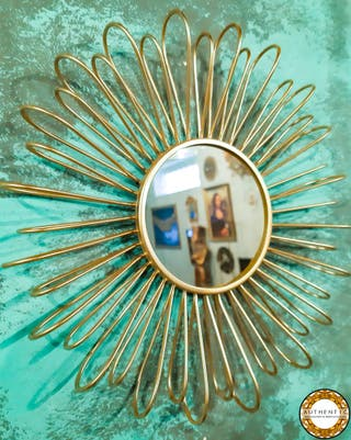 Espejo Sol Metalico 26cm Diámetro Dorado