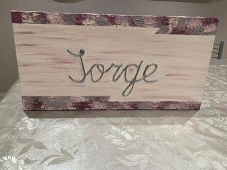 Lienzo con el nombre de Jorge entrega en pamplona