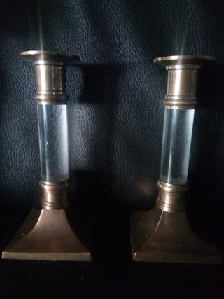 portavelas metal y cristal