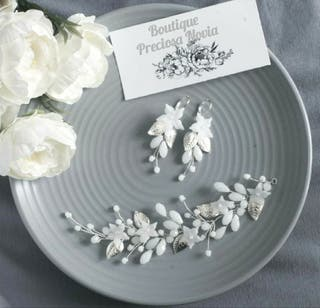 Tiara Joya de flor de porcelana + Pendientes joya