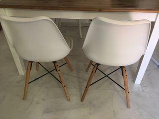 2 sillas diseño blancas/madera el corte ingles