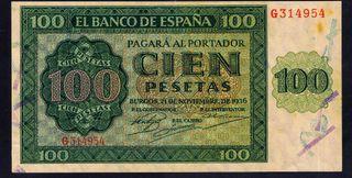billete 100 pesetas 1936