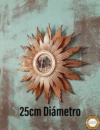 Espejo Sol 25cm Diámetro Oro Cromo