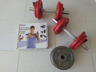 conjunto pesas + set fitness