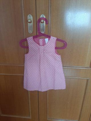 Vestido rosa de topitos. Talla 24 meses.