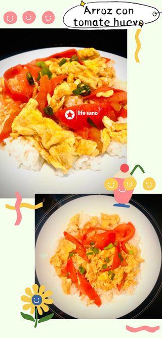 Arroz con tomate huevos