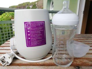 escalfa/calienta biberó AVENT + biberó vidre