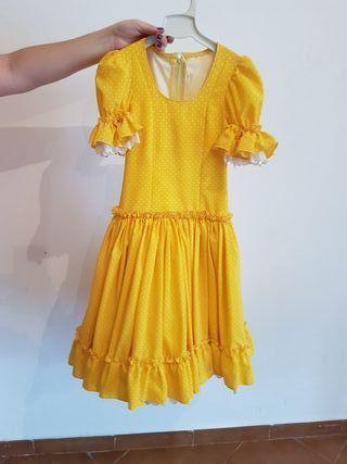 Traje de flamenca niña amarillo lunares