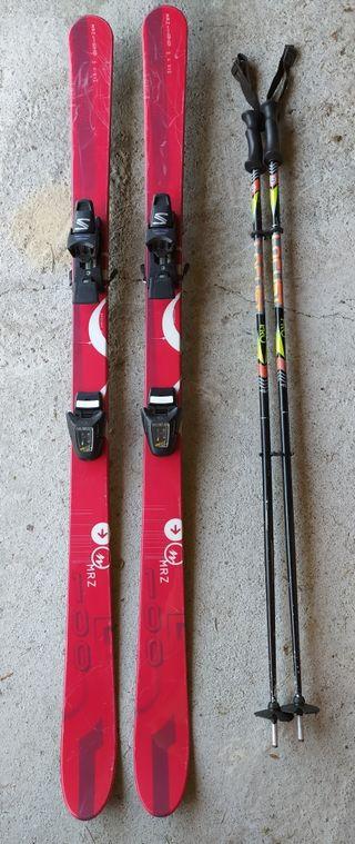 Esquís, fijaciones Salomón y bastones