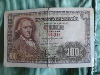 Billete 100 pesetas 1948 bayeu sin serie franco