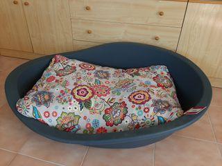Capazo y cojín cama perro grande