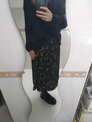 Falda midi plisada flores, forro interior