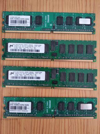 Lote de componentes: memorias, CdRW,red