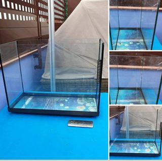 acuario con accesorios