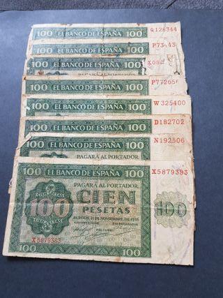 lote de billetes de 100 pesetas de 1936