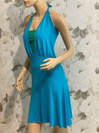 Vestido bicolor azul H&M T36