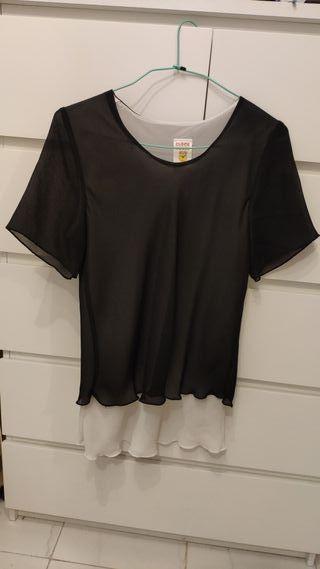 Blusa blanca y negra talla L