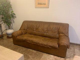 Sofá piel marrón 3 plazas