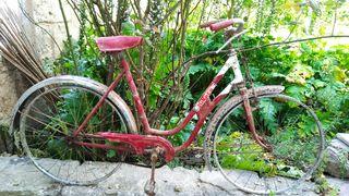 Bicicleta antigua con frenos de varillas