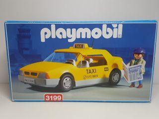 Antiguo Taxi Taxista Playmobil Coche Amarillo