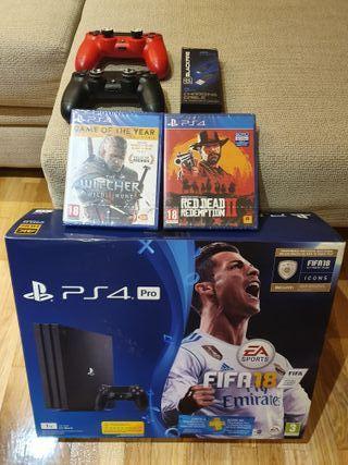 Playstation 4 PRO 1TB + 2 mandos + 2 Juegos