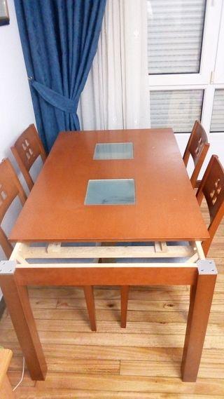 mesa comedor abatible + 4sillas