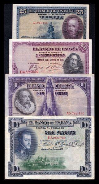 4 Billetes República 25 50 100 Pesetas 1925-1928